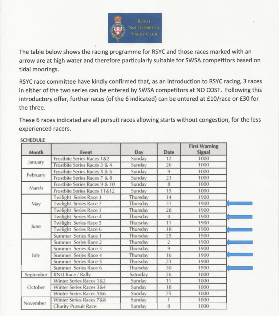 RSYC open racing schedule